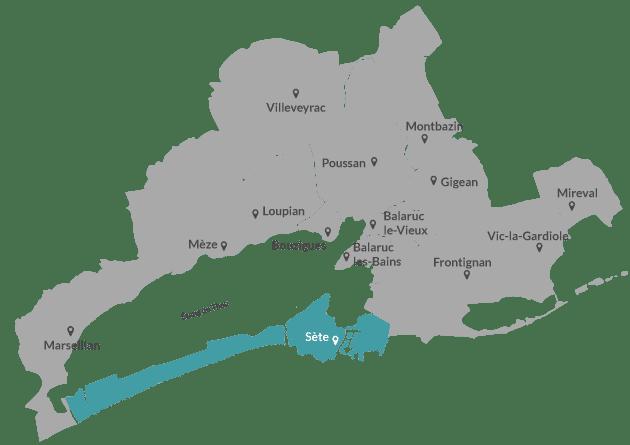 Carte Sète Agglopôle
