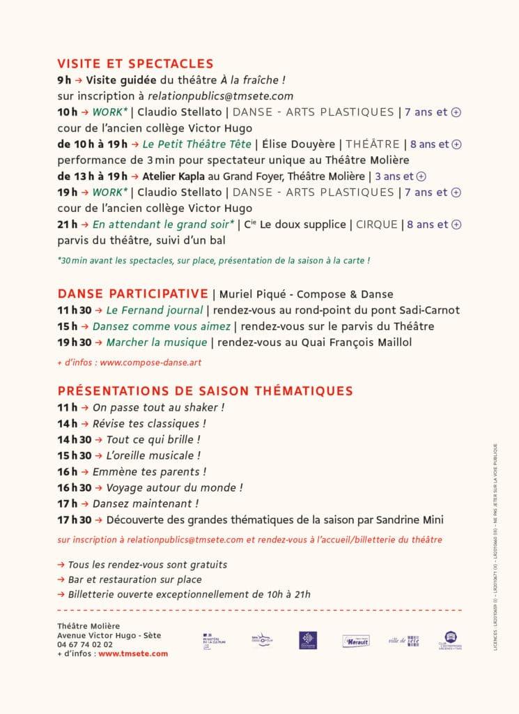 Jour de Fête au TMS Programme Samedi 11 septembre verso